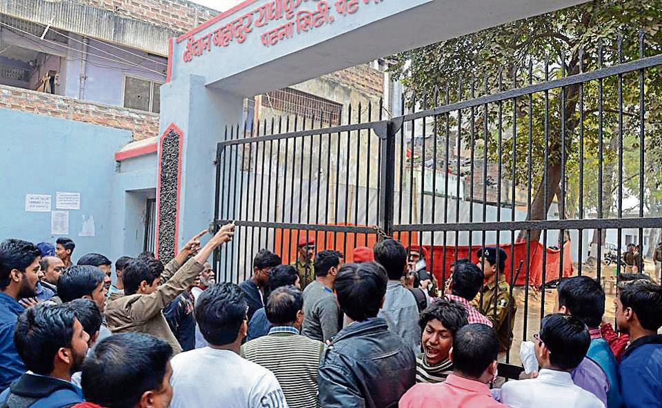 Students creating ruckus outside the BPSCexamination centre in Patna on Sunday.