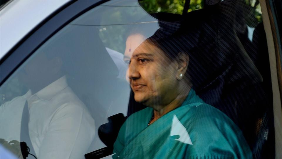 AIADMK general secretary VK Sasikala in a surprise move arrives at the resort in Koovathur at East Coast Road to meet various MLAs who are camping over the last four days to decide on the further course of action near Chennai on Saturday.