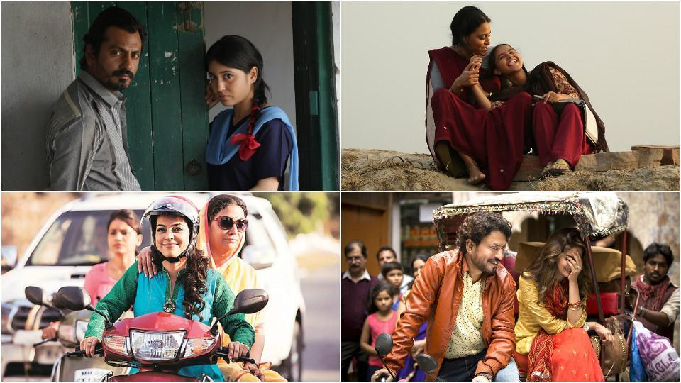 (Clockwise):Stills from Haraamkhor, Nil Battey Sannata, Hindi Medium and Chalk 'n' Duster