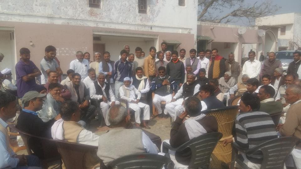 In Jewar (above), the Bharatiya Janata Party candidate, Dhirendra Singh, said he spent the day with his family and interacted with villagers.