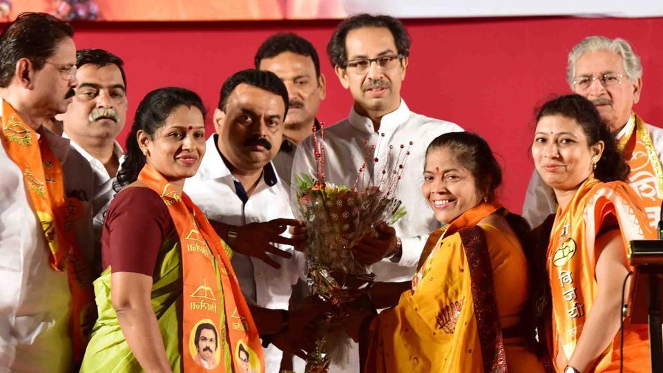 Uddhav Thackeray during a rally at Goregaon in Mumbai onSunday.