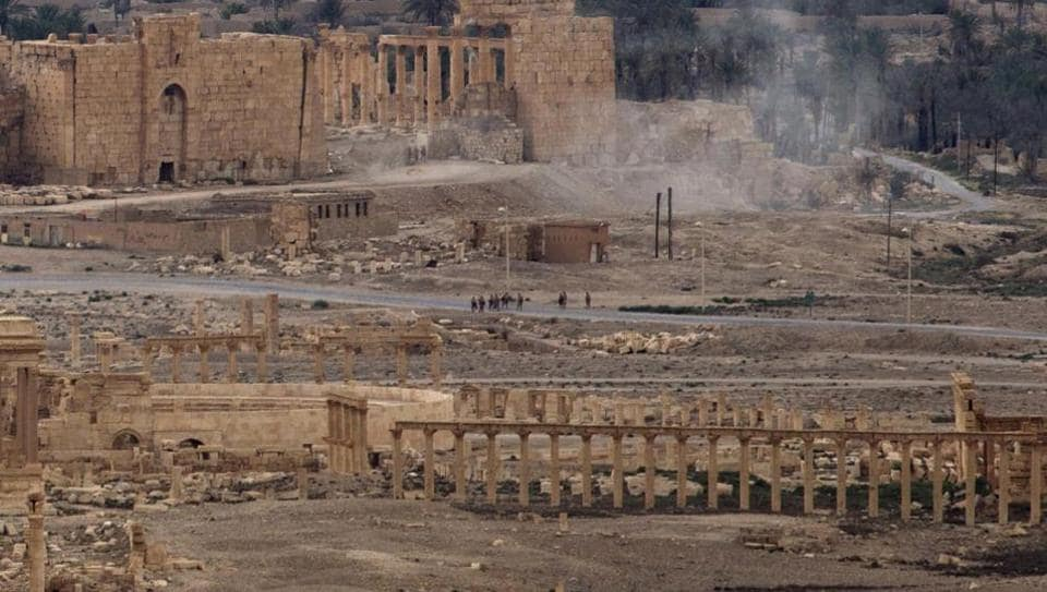 Russia released drone footage Monday showing new destruction in Syria's historic town of Palmyra