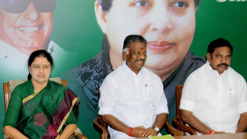 Nagapattinam MLA M Thamimum Ansari has sought a referendum on whether to support Tamil Nadu's acting chief minister O Panneerselvam (centre) or AIADMK general secretary V K Sasikala (left).