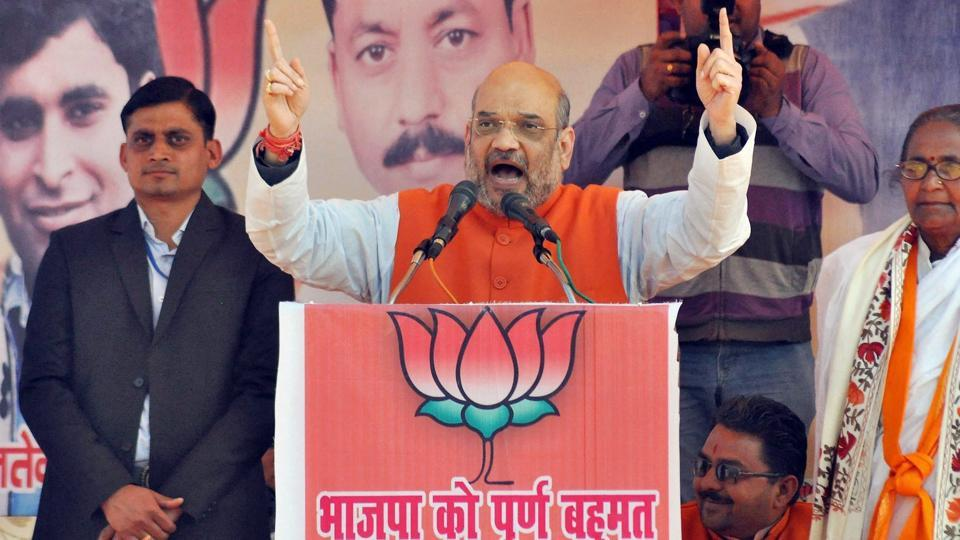 BJP president Amit Shah addresses an election rally in Chandausi in Sambhal district of Uttar Pradesh on Monday.