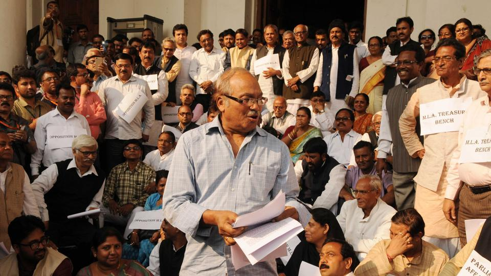 Congress and CPI(M) MLAs protest on Bengal assembly premises.
