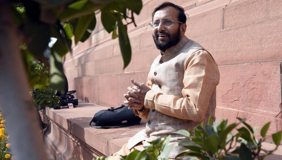 Union minister Prakash Javadekar seen after attending the Parliament's budget session in New Delhi on February 08.