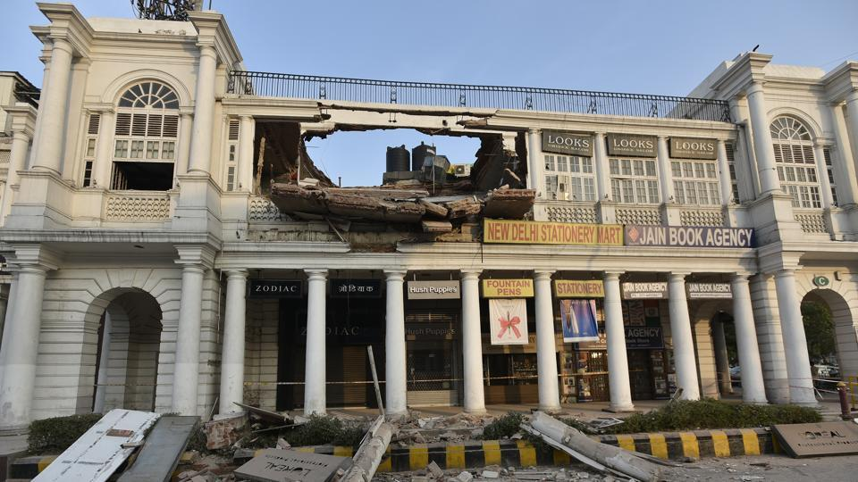 An empty section of a building in C Block in Connaught place, New Delhi, collapsed on February 2, 2017.