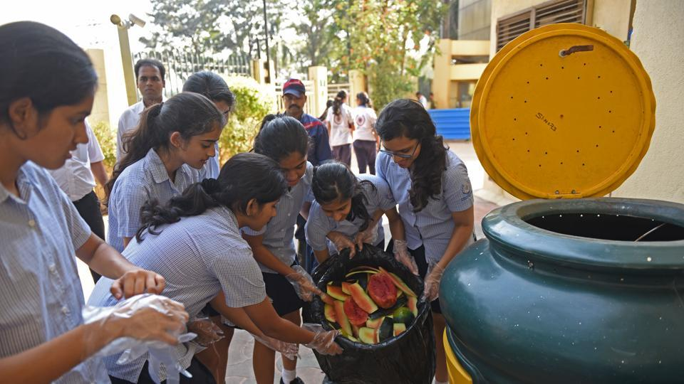 Students of Dhirubhai Ambani International School compost 15kg vegetable waste daily and convert it into manure.