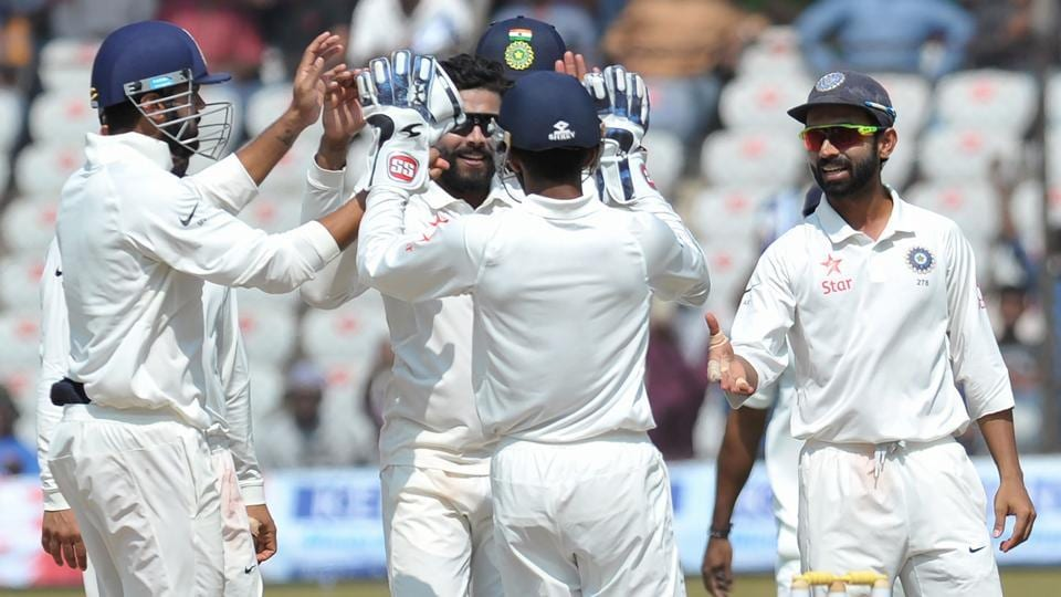 Ravindra Jadeja celebrates the wicket of Bangladesh's Mehedi Hasan Miraz on the fifth day of the match. (AFP)
