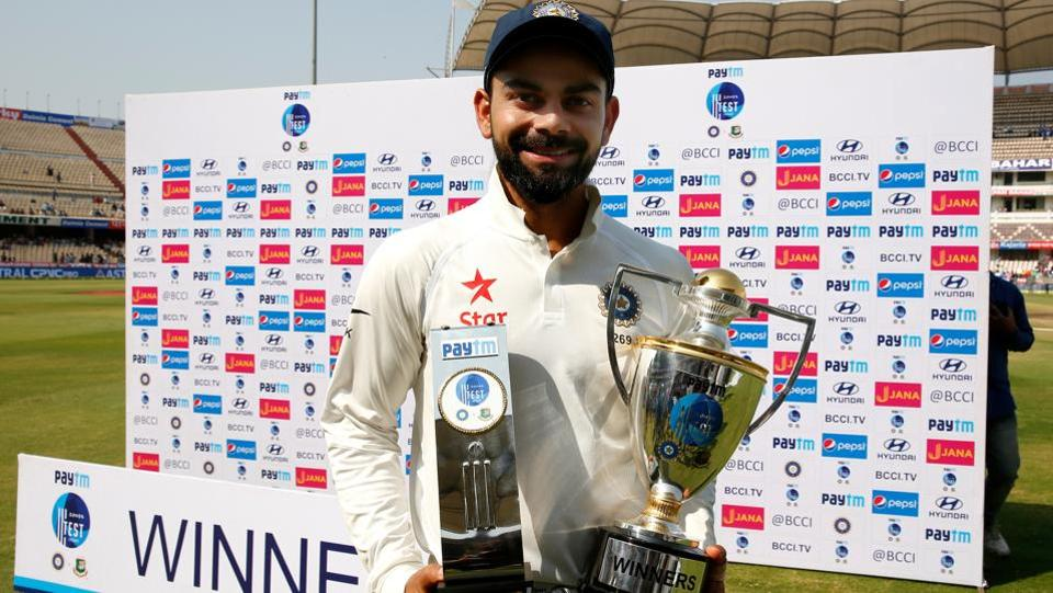 India cricket team skipperVirat Kohli with Paytm Man of the Match and Winners Trophy. (BCCI)