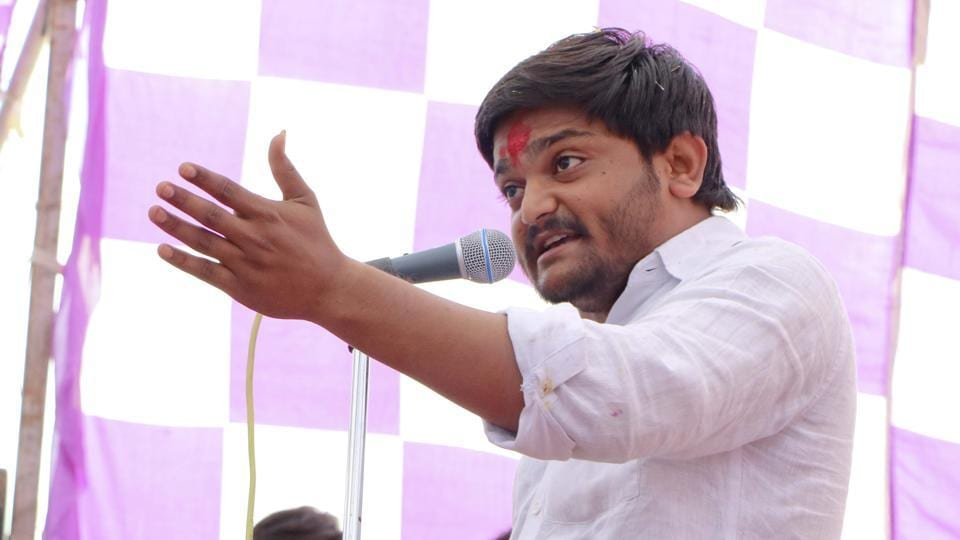 Hardik Patel during a rally in Dhrangdhra in Gujarat on Saturday.