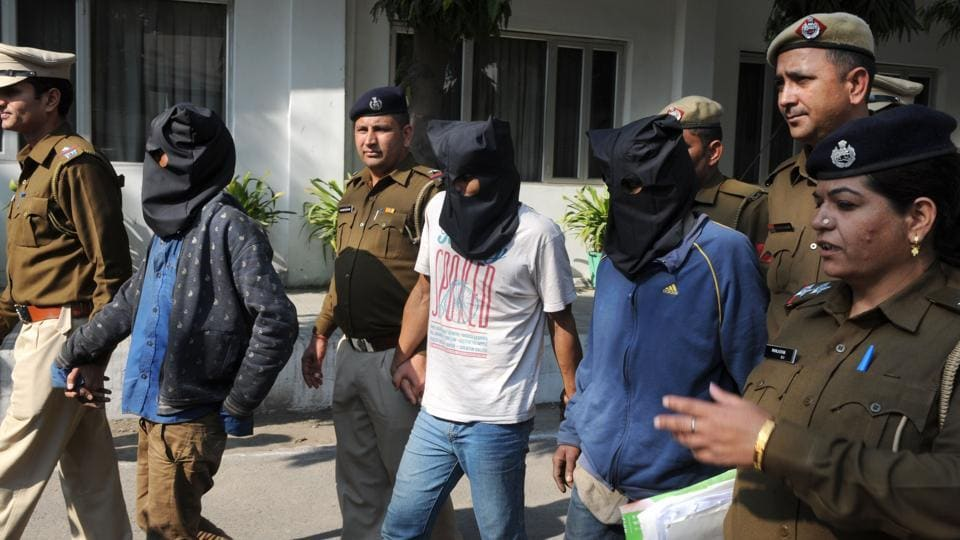 Police arrest Ejaz Malik, Mukhtar Ali, and Jalil Ahmed for gang rape and murder of a 10-year-old girl in Gurgaon on Monday.