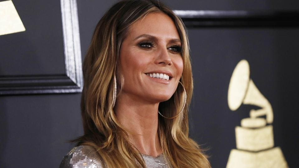 Heidi Klum arrives at the venue of the music industry's biggest awards night in Los Angeles. (Reuters)