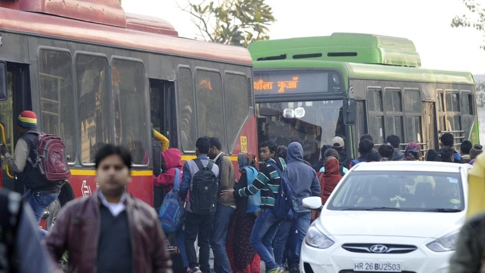Residents took to buses and metro service in the absence of app-based cabs.