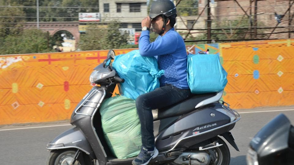 Residents openly using polythene bags in Amritsar on Saturday.