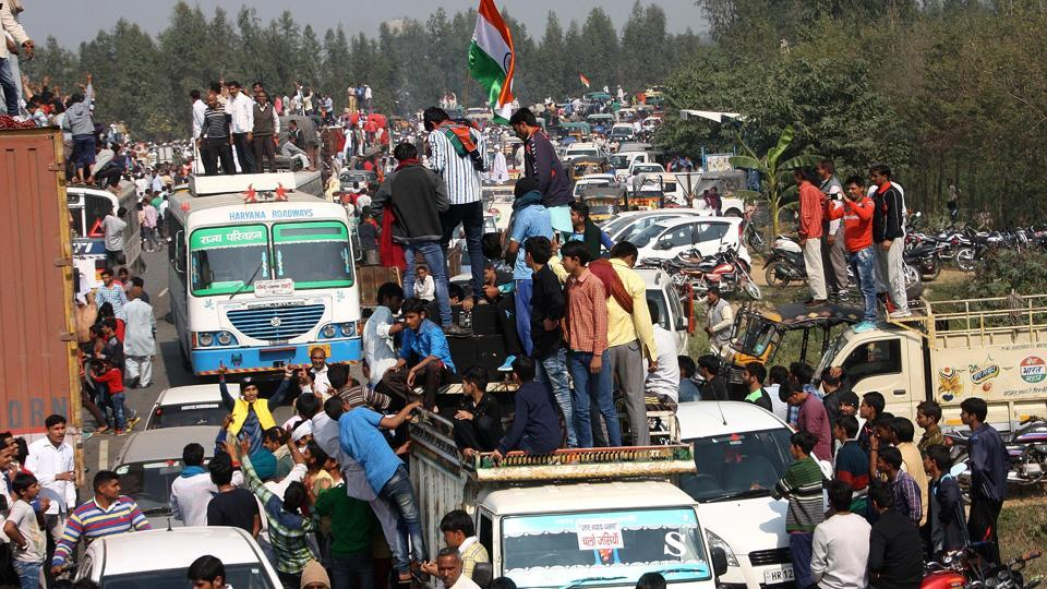 Jat protesters laying siege to the National Highway-71 on Sunday.