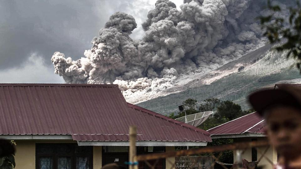 Many residents in the area have been forced to relocate to other villages of Northern Sumatra at a safer distance from Mount Sinabung volcano, one of the most active in Indonesia.  (AFP PHOTO / STR)