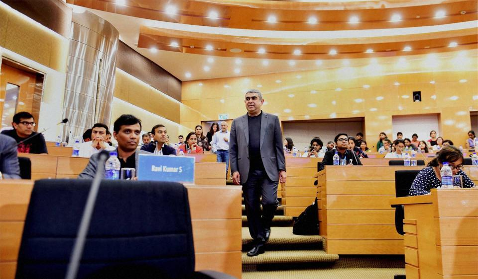 Infosys CEO Vishal Sikka arrives at the headquarter of the company in Bengaluru for quarterly results.