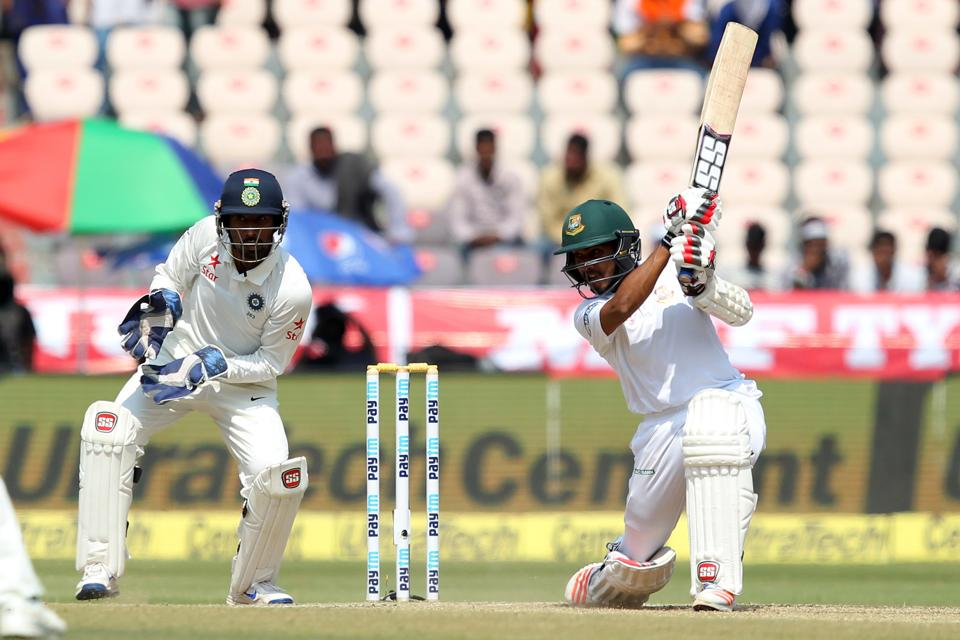 Mehedi Hasan of Bangladesh in action during day five of the only test match between India and Bangladesh. (BCCI)