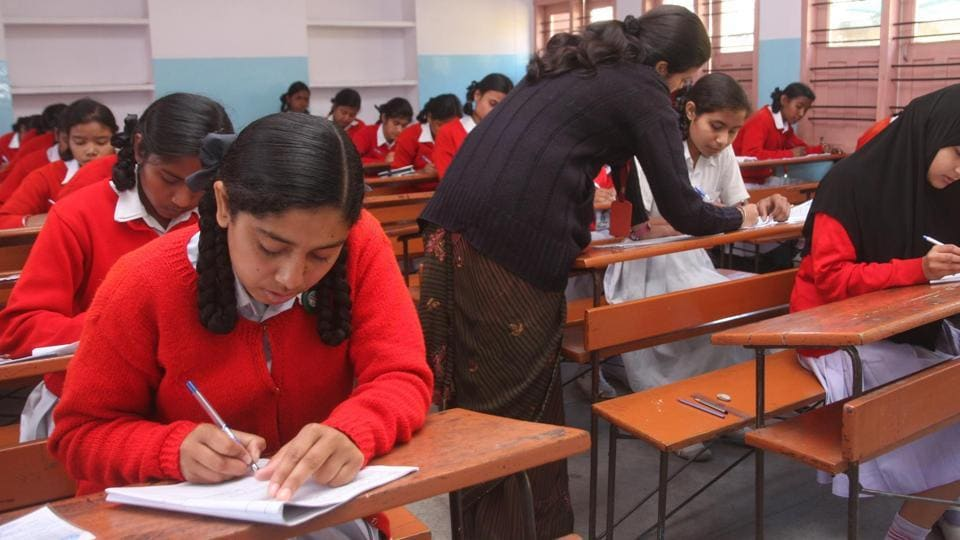 Examinees appearing for the matriculation examination conducted by the Jharkhand Academic Council in Ranchi