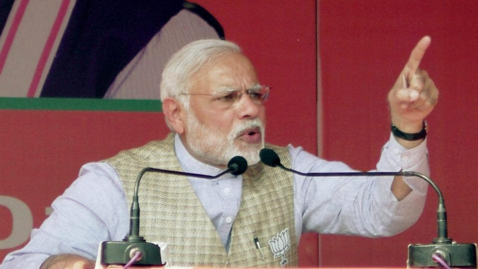 Prime Minister Narendra Modi addresses an election rally at Lakhimpur Kheri in Uttar Pradesh on Monday.