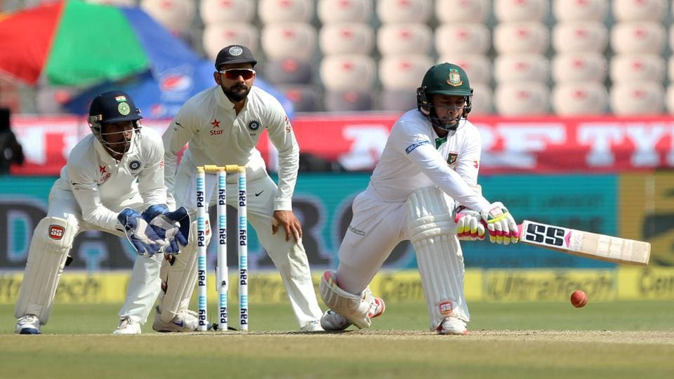 Mushfiqur Rahim captain of Bangladesh in action during day five of the only test match between India and Bangladesh. (BCCI)