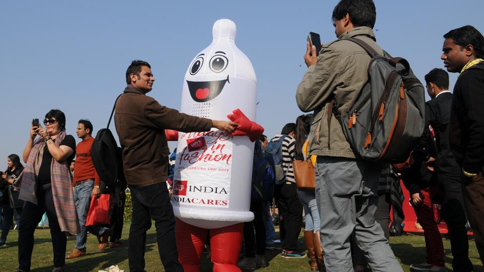 AIDS Healthcare Foundation (AHF), the largest global AIDS organization operating in 38 countries, celebrates International Condom Day (ICD) annually with this year's theme being 'Always in Fashion' for promoting prevention of STIs, HIV and unwanted pregnancies through free condom distribution and safer sex awareness events.  (Burhaan Kinu/HT photo)