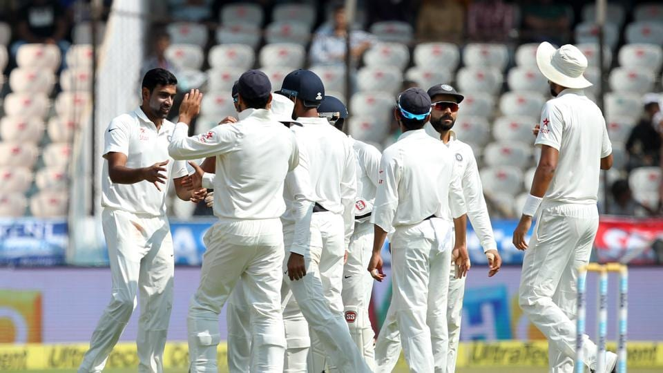 Ravichandran Ashwin and Ravindra Jadeja's four wicket hauls were backed up by a hostile spell from Ishant Sharma as India registered a 208-run win over Bangladesh in Hyderabad.