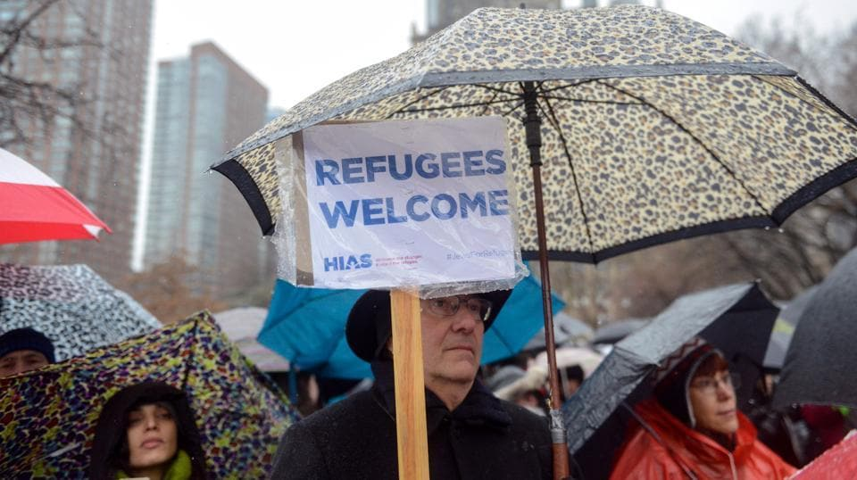 People participate in a protest against US President Donald Trump's immigration policy at the Jewish Rally for Refugees in New York City, February 12, 2017.