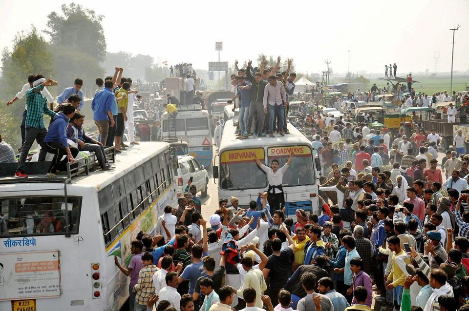 Jat protesters demanding reservation block traffic at Jassia village, Rohtak, on the Panipat- Rohtak national highway on Sunday.
