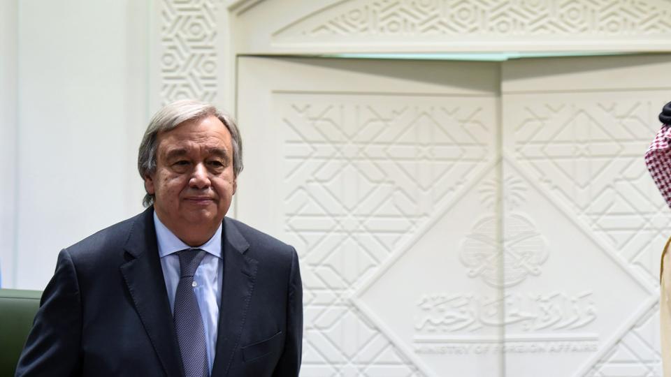 UN Secretary General Antonio Guterres prepare to take his seats as UN special envoy to Yemen.