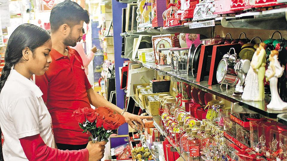 Valentine's  Day  products on display in Mohali,  February 09 (Representational photo).