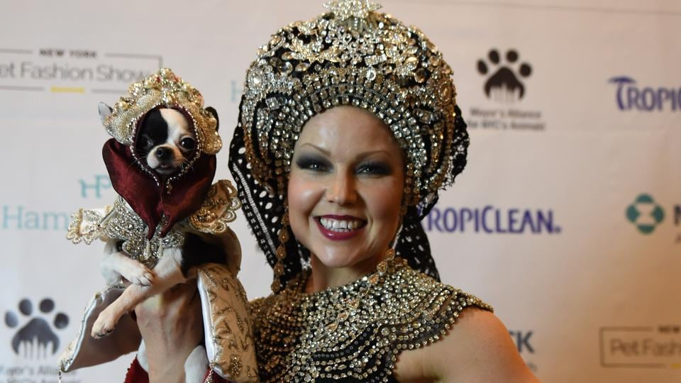 Summer Strand, represents Russia in the World Fashion Presents segment of the 14th Annual New York Pet Fashion Show  (TIMOTHY A. CLARY / AFP)