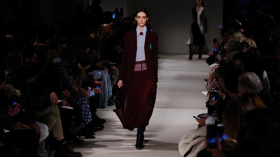 A model presents a creation from the Victoria Beckham Fall/Winter 2017 collection during New York Fashion Week in the Manhattan borough of New York on Sunday.
