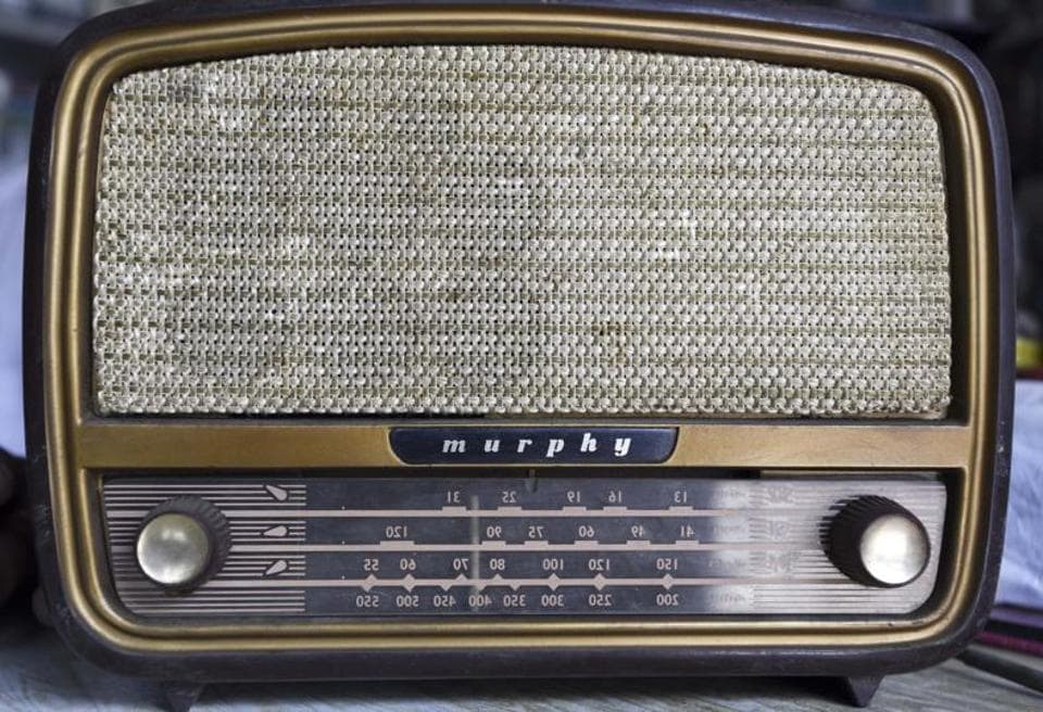 Murphy radio seen at one of the oldest radio shops in Jhumri Telaiya, Jharkhand, India. AIR was born on June 8, 1936. Urdu humourist Sir Syed Ahmed Shah Bokhari (before the formation of Pakistan in 1947) was the first director general. PC Chowdhuri was independent India's first DG.  (Sanjeev Verma /HT photo )
