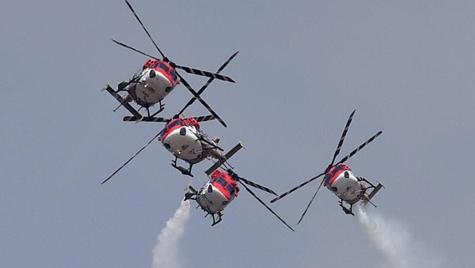 Indian Air Force's aerobatic team Sarang during a performance. (Shailendra Bhojak / PTI)