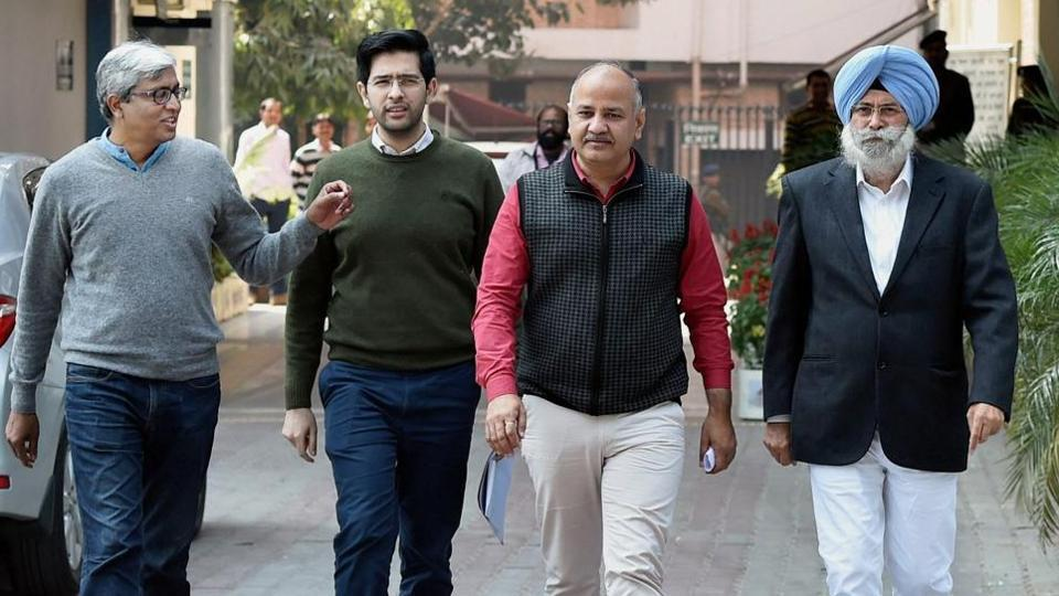A delegation led by Delhi Deputy Chief Minister Manish Sisodia after meeting with Election Commissioner submitted a memorandum alleging breach of security of EVMs in Punjab, in New Delhi on Tuesday.