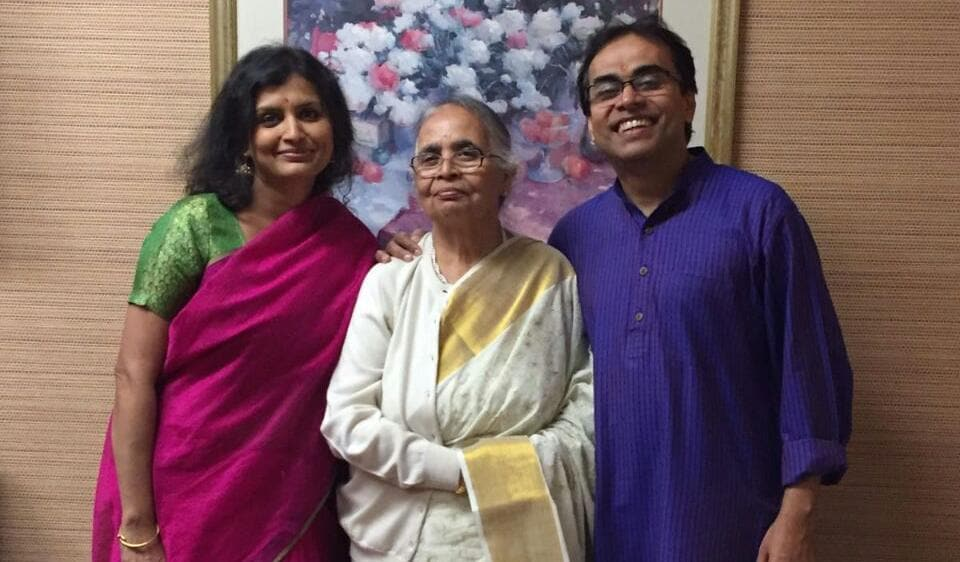 Sandeep Das with his mother and wife.
