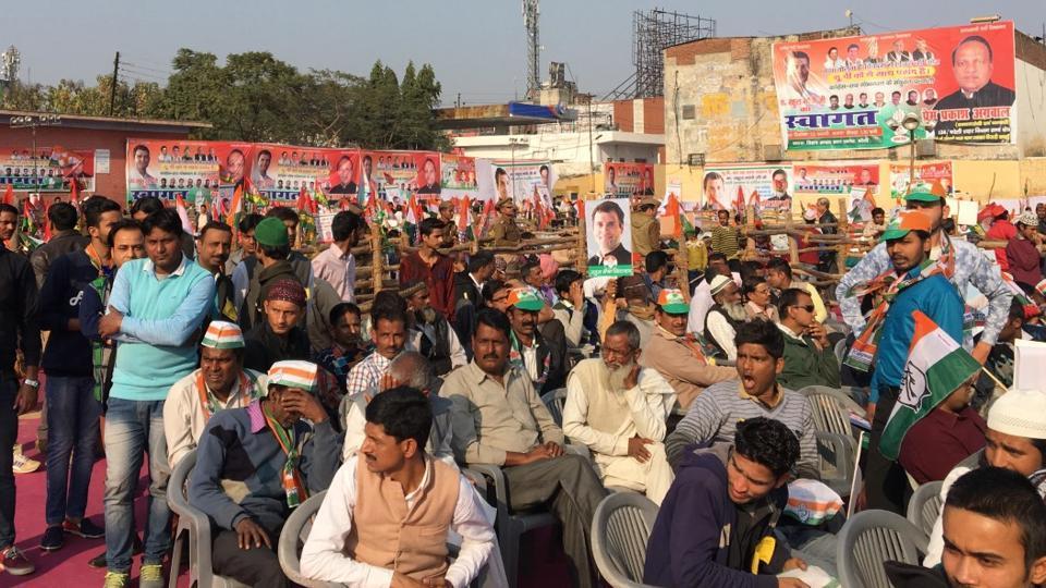 Crowds at Congress vice president Rahul Gandhi's election rally in Uttar Pradesh's Bareilly on Feb 13, 2017.