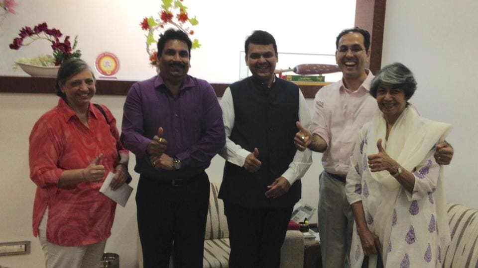 The petitioners with chief minister Devendra Fadnavis.