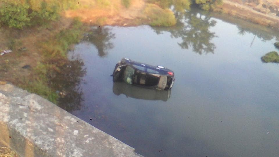 The car, after it fell off the bridge.