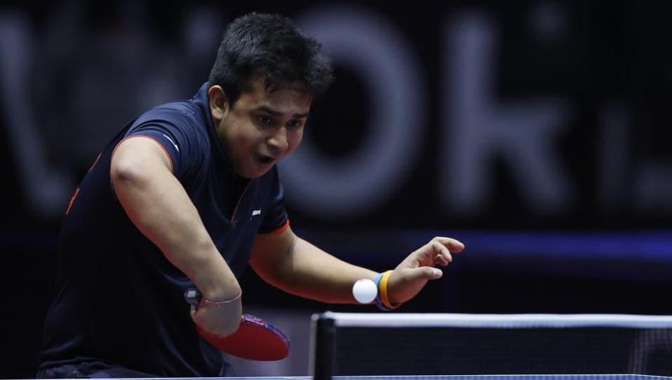 Soumyajit Ghosh in action during the International Table Tennis Federation World Tour event.