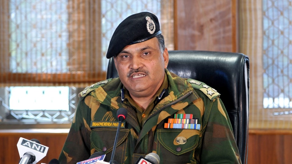 BSF Jammu Frontier DIG Dharmendra Pareek addressing media persons regarding a tunnel detected on International border, in Ramgarh sector of Jammu, on Tuesday.