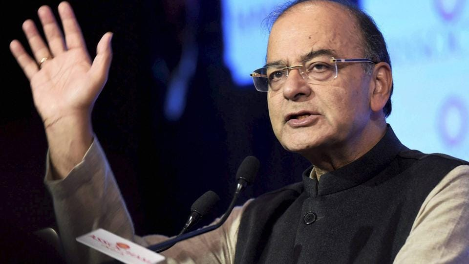 New Delhi: Finance Minister Arun Jaitley addresses during the 96th Annual Function of ASSOCHAM in New Delhi on Thursday. PTI Photo by Kamal Singh (PTI2_9_2017_000278A)