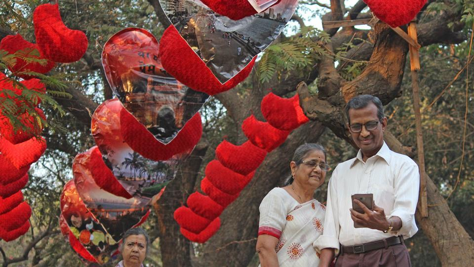 A hanging heart installation put up at Shivaji Park in Dadar on Monday attracts passers-by.