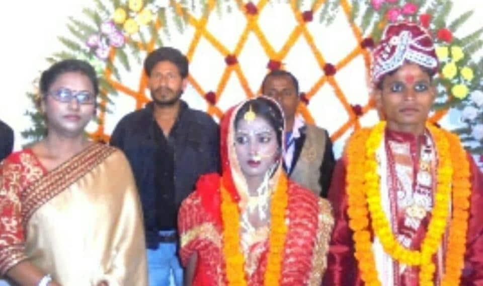 Benipatti SDPO Nirmala Kumari (extreme left) with bride and groom.