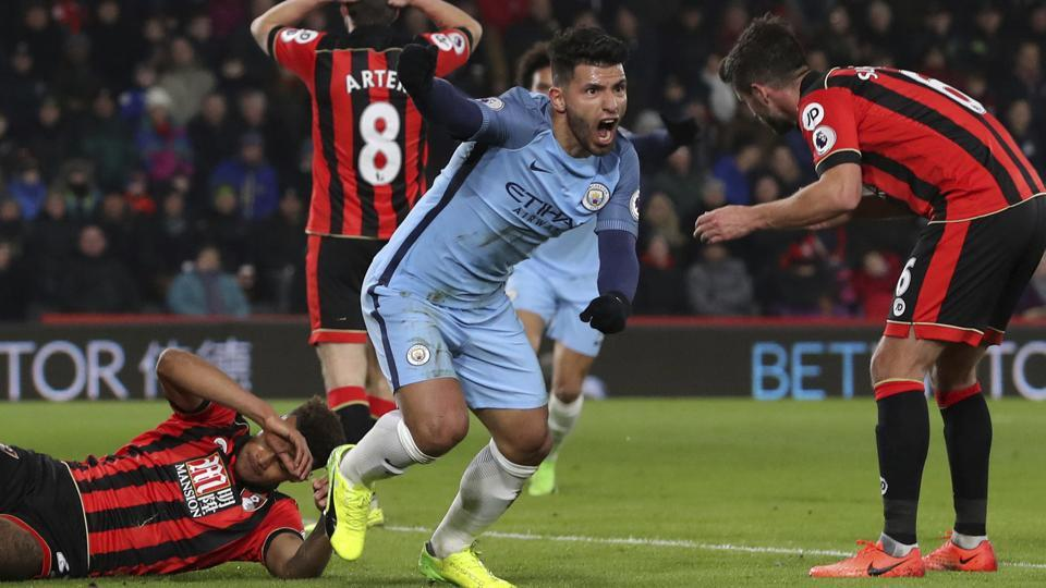 Manchester City F.C. moved to second spot in the Premier League after beating A.F.C Bournemouth 2-0 thanks to Sergio Aguero.