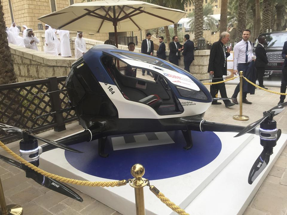 A model of EHang 184 and the next generation of Dubai Drone Taxi is seen during the seconde day of the World Government Summit in Dubai, United Arab Emirates, on February 13, 2017.