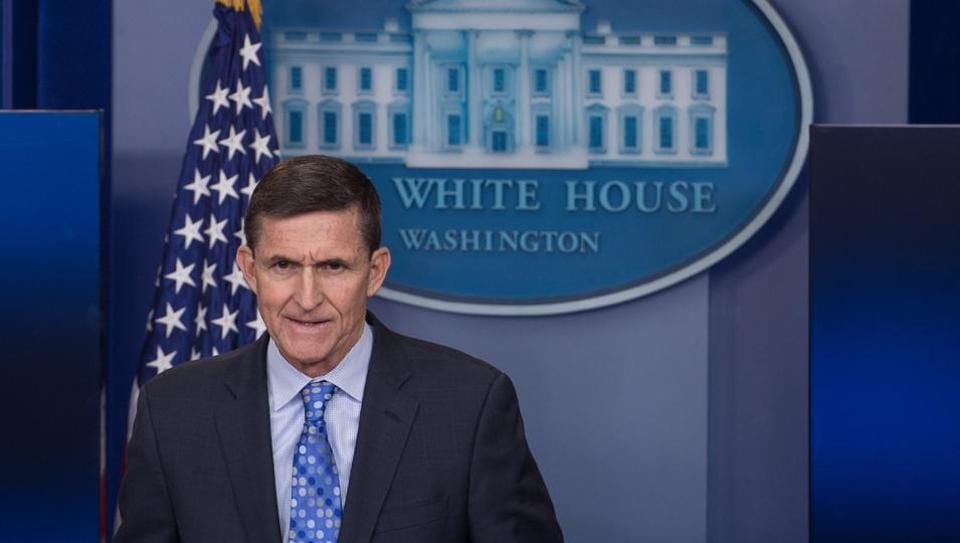 Mike Flynn speaks during a press briefing at the White House in Washington, DC.