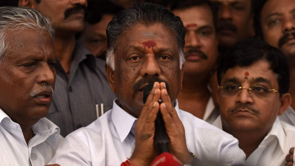 Acting chief minister of Tamil Nadu O Panneerselvam in Chennai on Tuesday.